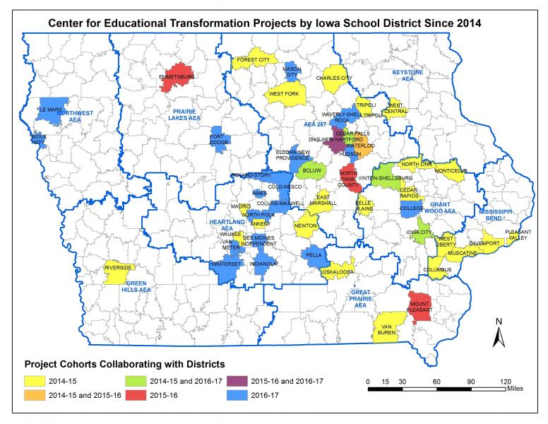 Map showing the 49 Iowa school districts involved in CET projects since 2014