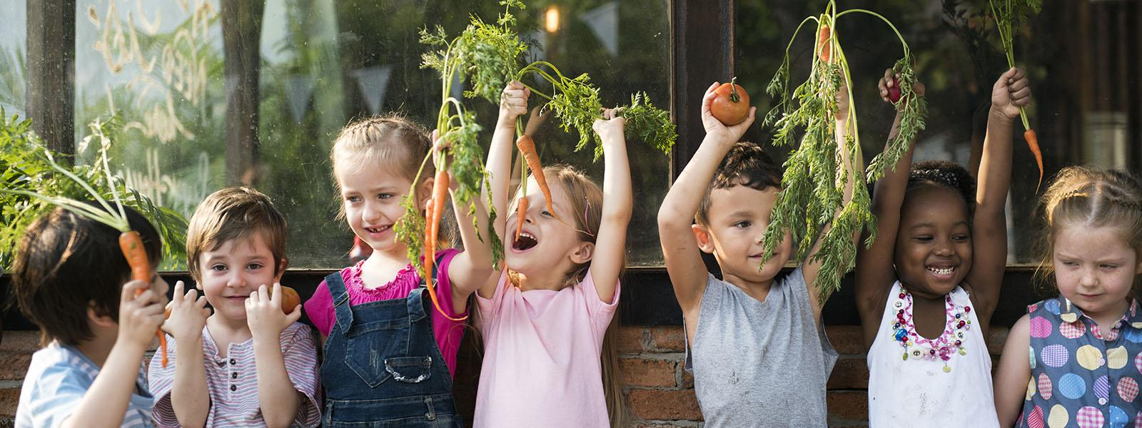 healthy kids with vegetables